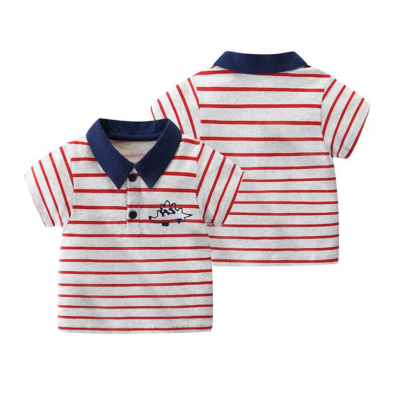 Toddler Boy Striped Dinosaur Polo Shirt Wholesale Children's Clothing