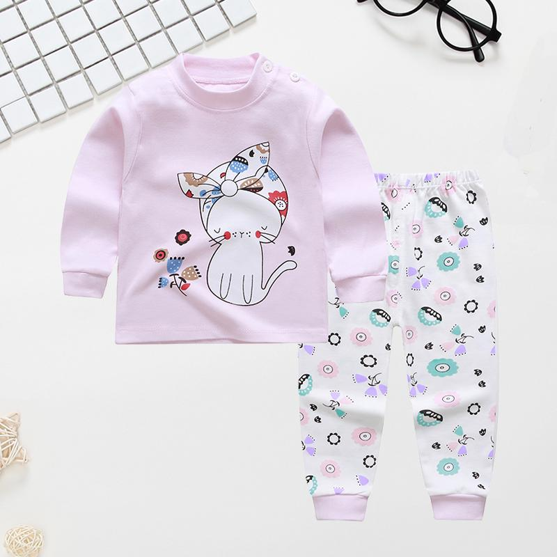 Cute Cartoon Cat Printed Cotton Long-sleeve Pajamas Set - PrettyKid