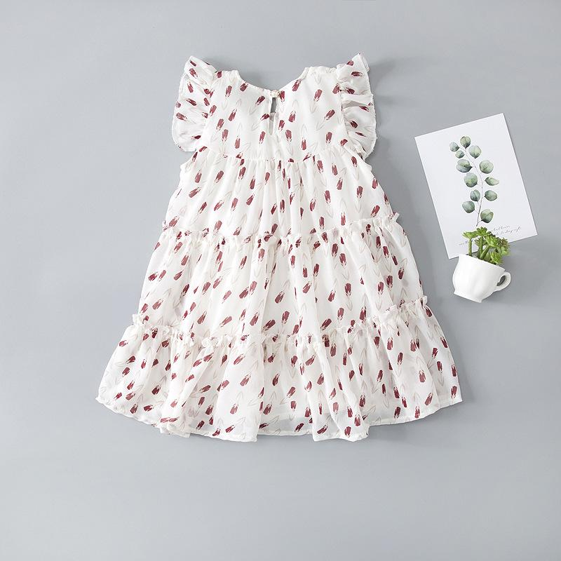 Toddler Girl Ruffle Sleeves Floral Chiffon Dress