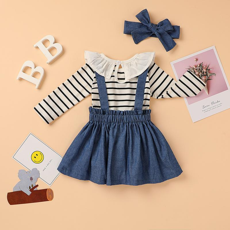 3-piece Lace Striped Bodysuit & Solid Strap Dresses & Headband for Baby Girl Wholesale children's clothing - PrettyKid