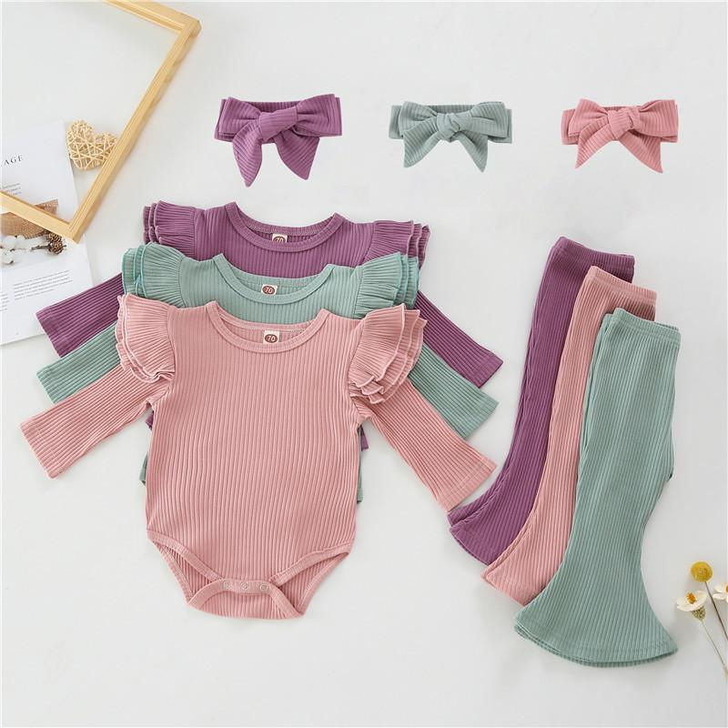 3-piece Solid Ruffle Bodysuit & Pants & Headband for Baby Girl Wholesale children's clothing - PrettyKid
