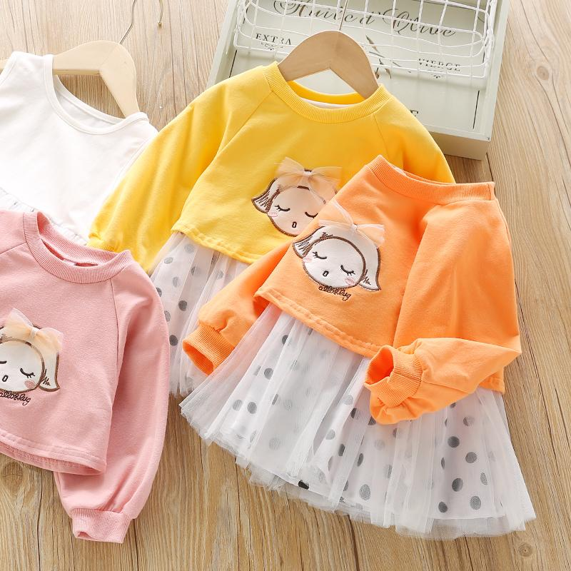 Cartoon Print Sweatershirt and Mesh Dress Set Wholesale Children's Clothing