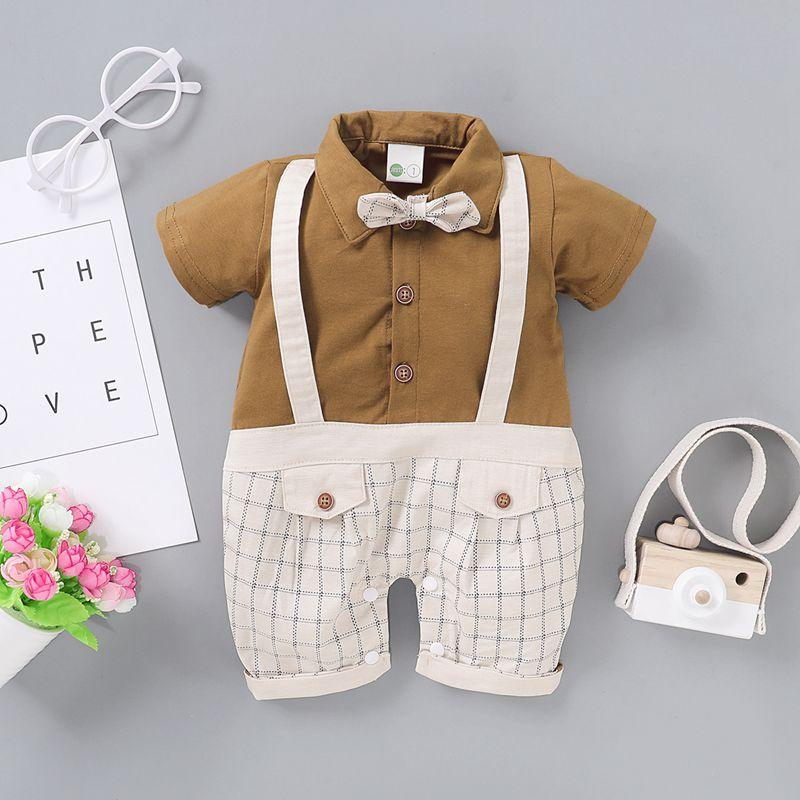 Gentleman Bow Decor Jumpsuit for Baby Boy Wholesale children's clothing