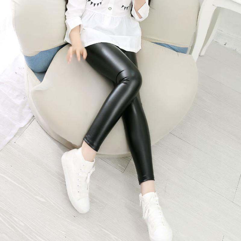 Excavator Shirt Toddler Slim-fit Solid Color Leather Pants Leggings for Kid Girl