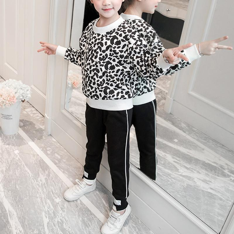 2-piece Leopard Sweatshirt & Pants for Girl Wholesale children's clothing