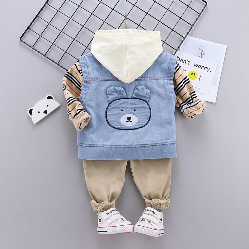 3-piece Bear Pattern Vest & Striped Hoodie & Pants for Toddler Boy Wholesale children's clothing