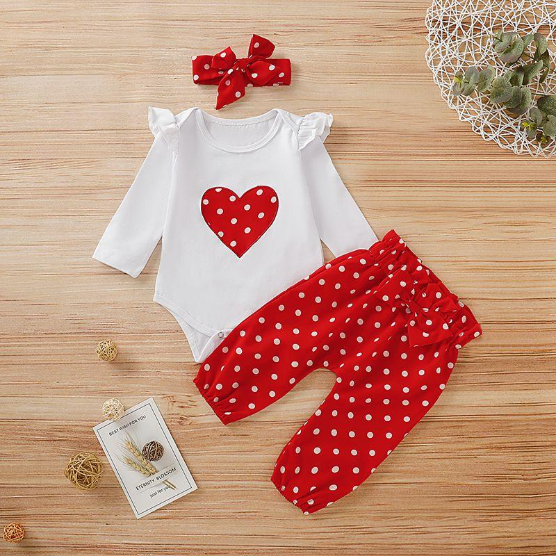 2-piece Casual Dot Long-sleeve Bodysuit and Pants Set with Headband Children's clothing wholesale - PrettyKid