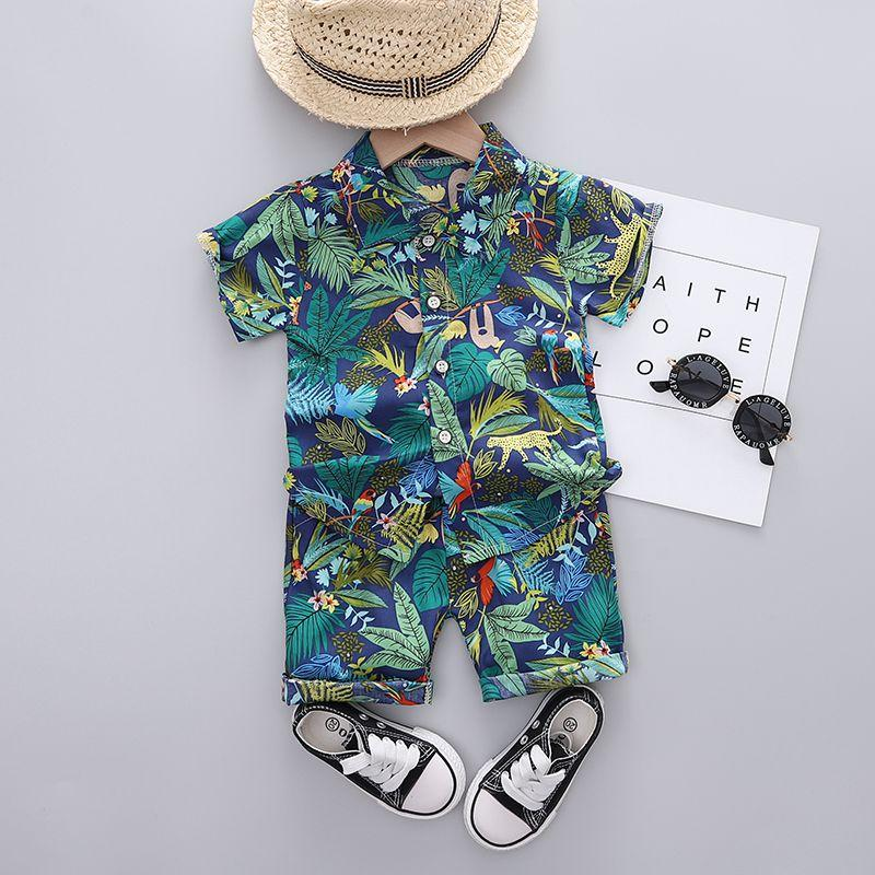 Children Boy 2pcs Animal Pattern Summer Suit T-Shirt & Shorts - PrettyKid