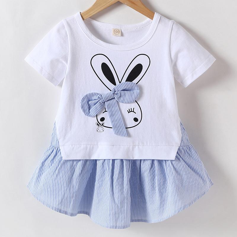 Girls' Cartoon Rabbit Print Bow Decor Dress