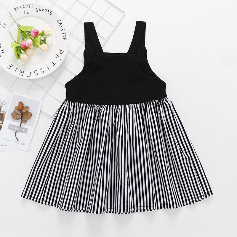 Summer New Girl's Cartoon Suspender Stripe Dress