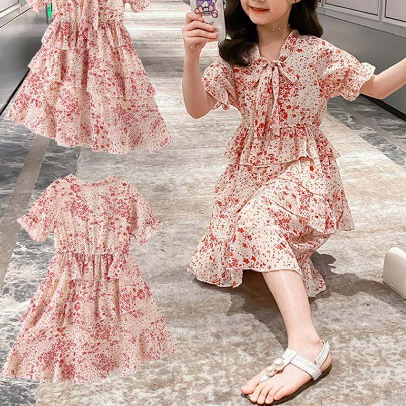 Floral Printed Layered Dress for Girl Wholesale children's clothing