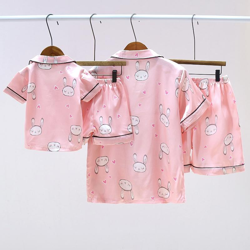 Satin Fabrics Silk-like Rabbit Printed Pajamas Mother Baby Clothes Wholesale children's clothing