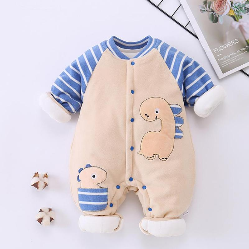 Dinosaur Pattern Fleece-lined Jumpsuit for Baby Boy Wholesale children's clothing