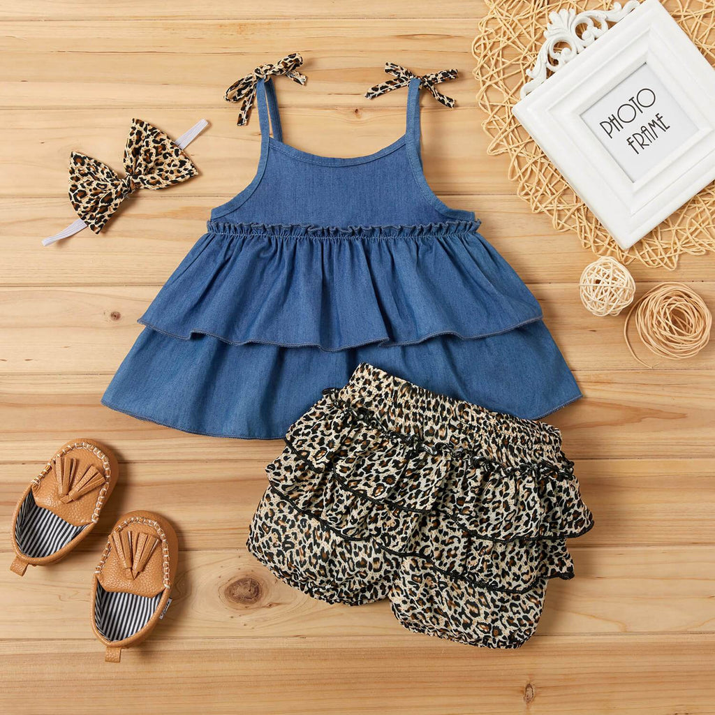 3-piece Denim Layered Flounced Top and Leopard Print Shorts Set - PrettyKid