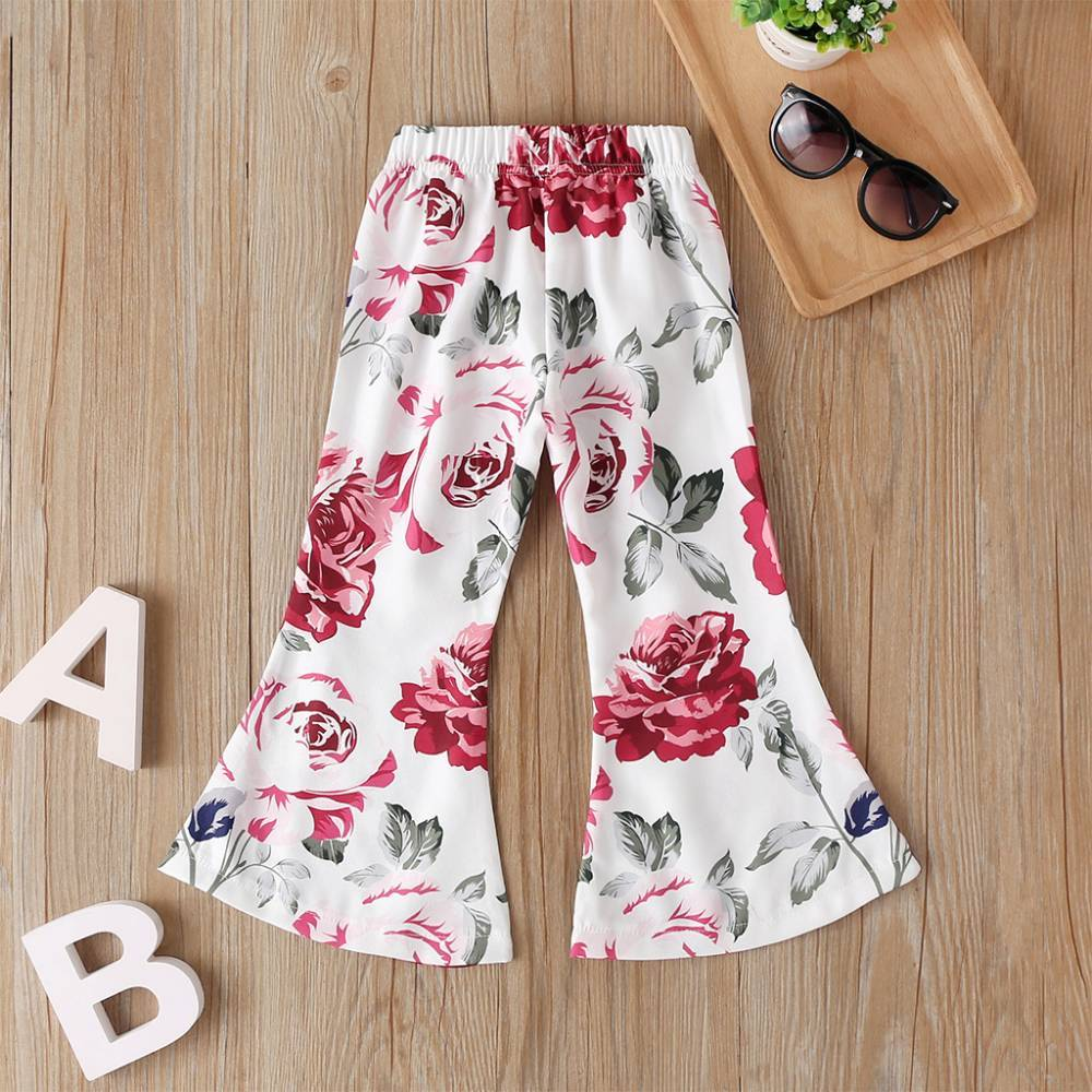 COTTNBABY Girl Floral Flare Trousers Casual Pants Sweatpants Harem Pants