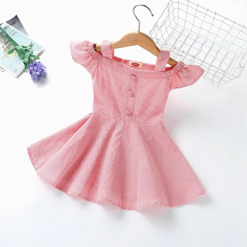 Toddler Girl Summer Flying Sleeve Plaid Princess Dress Wholesale Children's Clothing