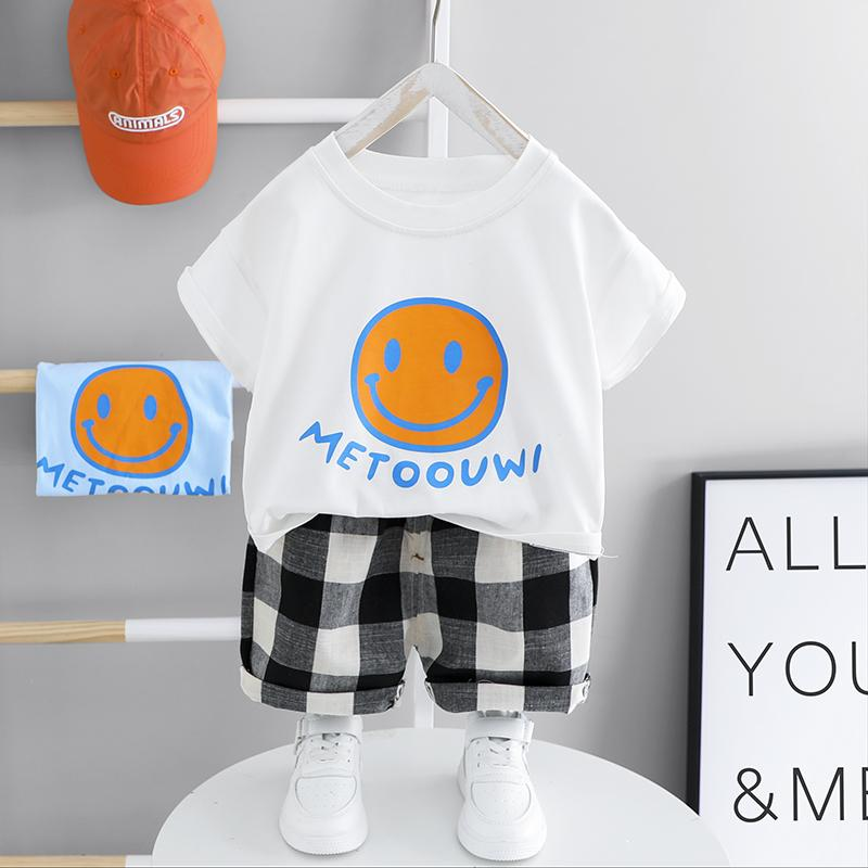 2pcs Fashion Color-block Smile Print T-shirt and Plaid Pants Wholesale children's clothing