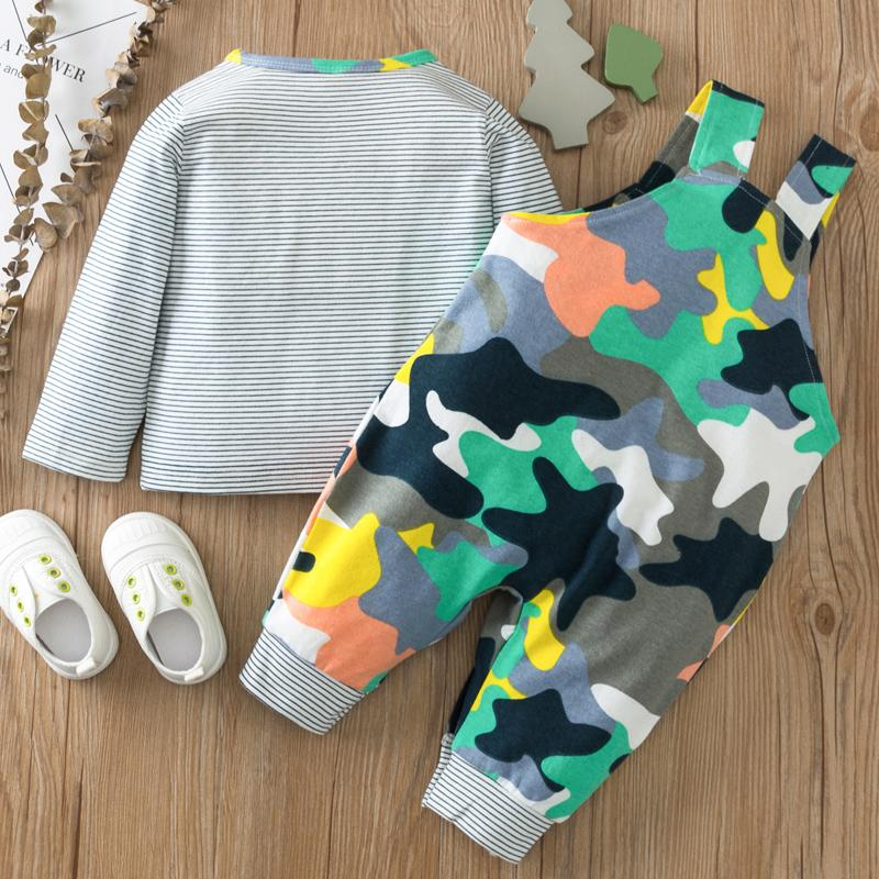 2-piece Striped Long Sleeve T-shirt & Camouflage Bib Pants for Baby Wholesale children's clothing