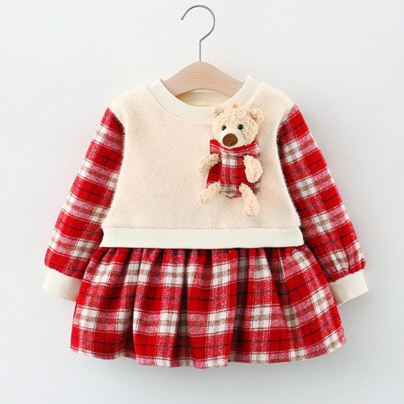 Bear Toy Plaid Dress for Toddler Girl Wholesale Children's Clothing