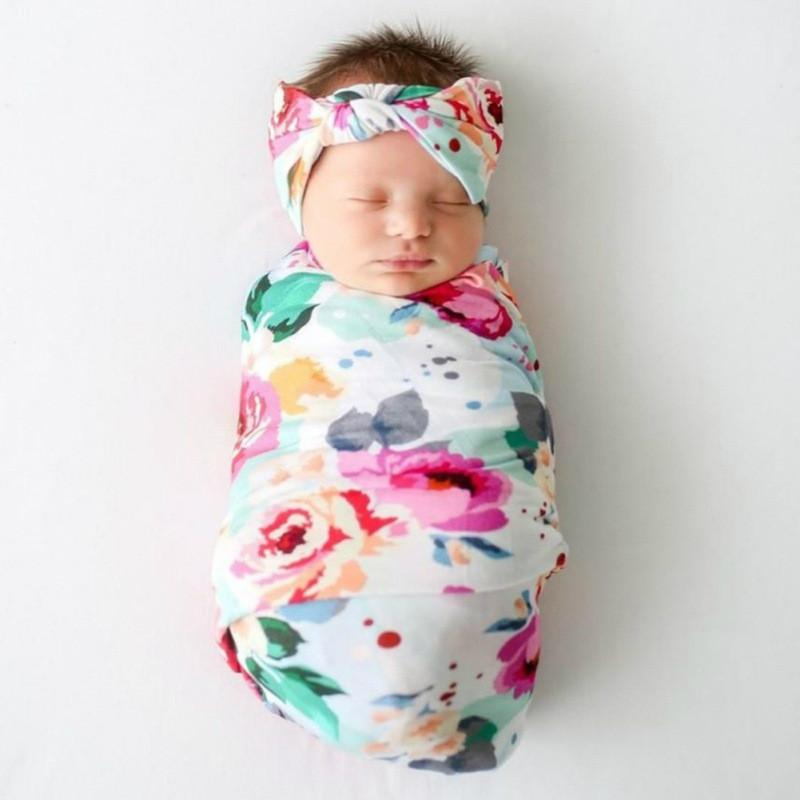 3-piece Floral Printed Baby Photographic Clothing & Hat & Headband - PrettyKid