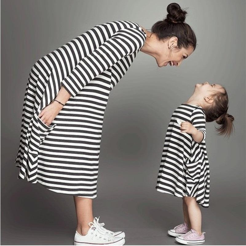 Flower Bell Bottoms Summer Striped Dress Mother Baby Clothes