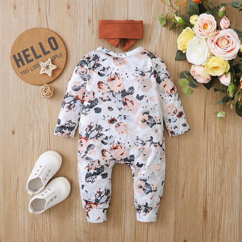 2-piece Floral Jumpsuit & Headband for Baby Girl Wholesale children's clothing