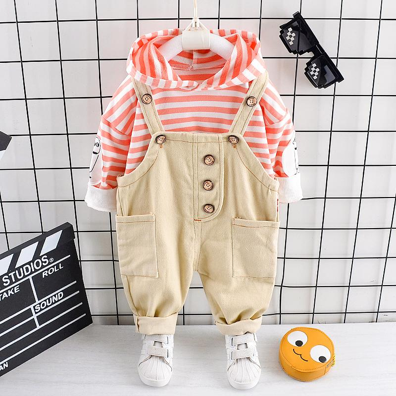 2-piece Striped Hoodie & Braces for Toddler Boy Wholesale children's clothing