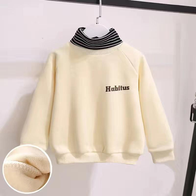 Fleece-lined Turtleneck Sweatshirt for Girl Wholesale children's clothing
