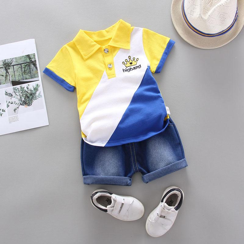 2-piece Color-block Polo Shirt & Short Jeans for Toddler Boy Wholesale children's clothing