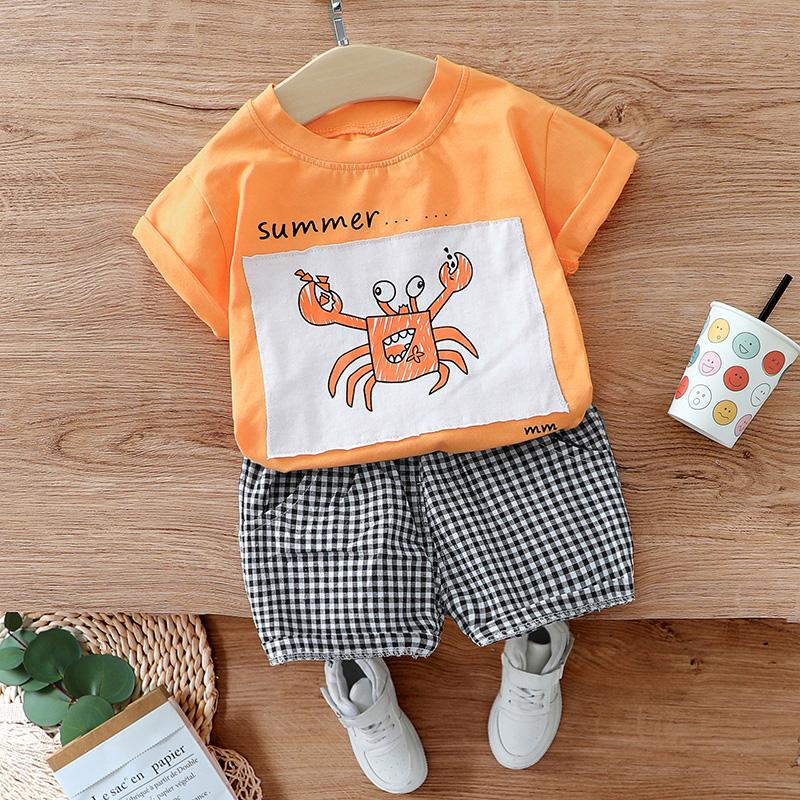 2pcs Fashion Cartoon Prints T-shirt and Plaid Pants Wholesale children's clothing - PrettyKid