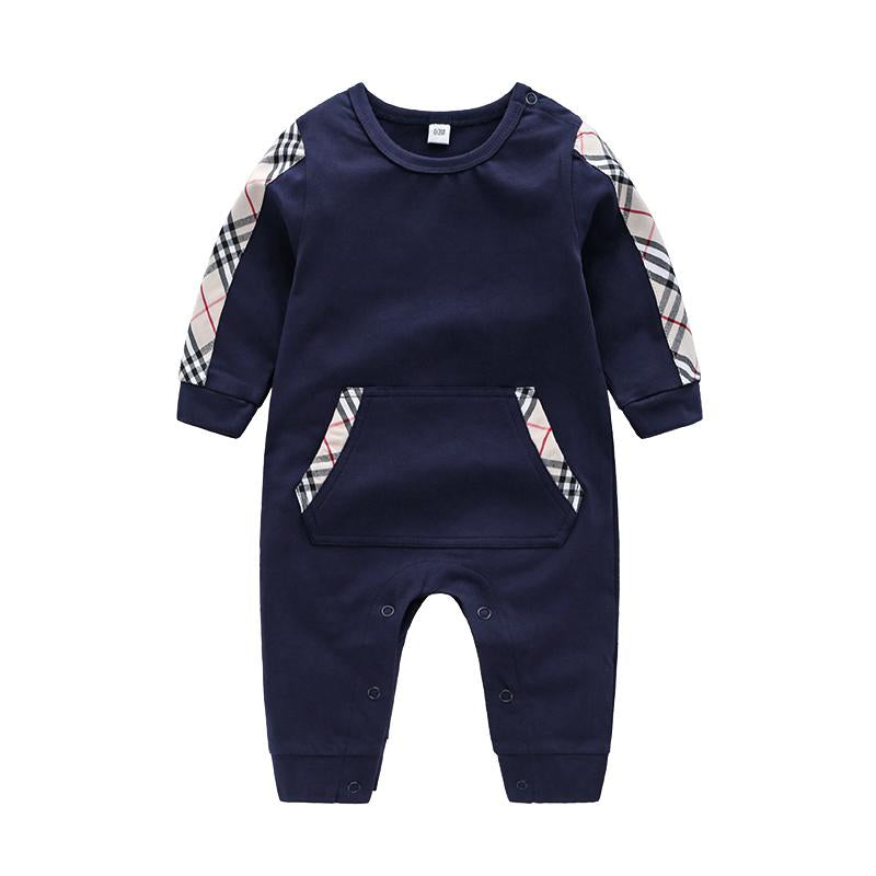 High Quality Cotton Casual Solid Plaid Long-sleeve Jumpsuit for Baby Children's clothing wholesale