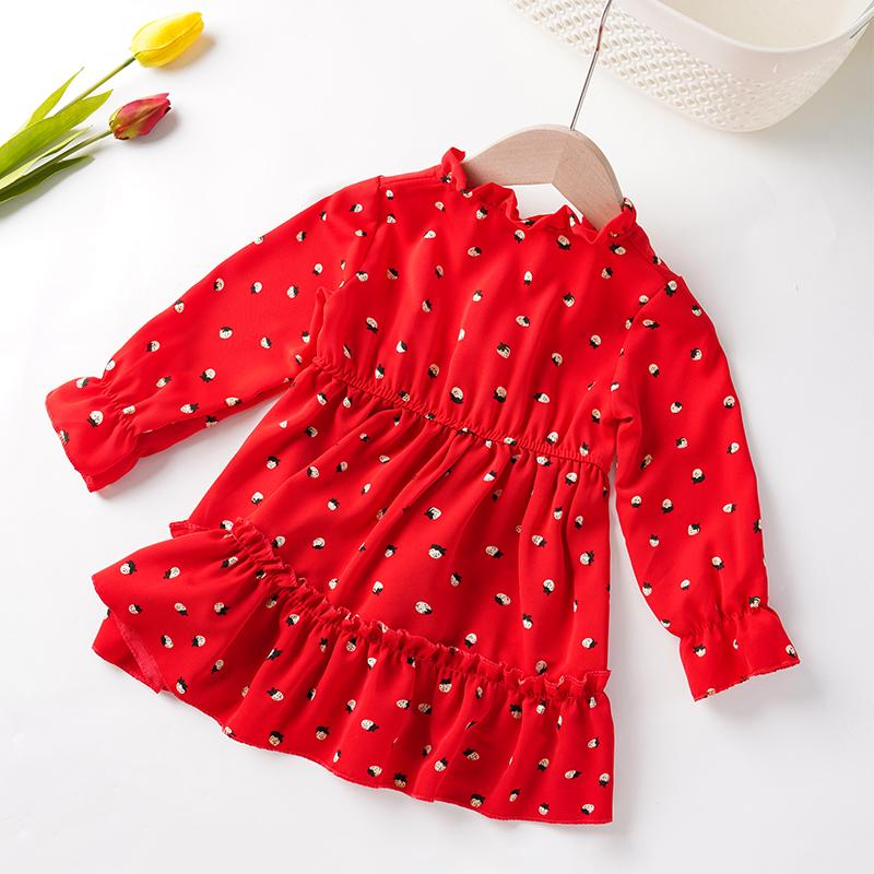Toddler Girl Polka Dot Pattern Red Dress Wholesale Children's Clothing