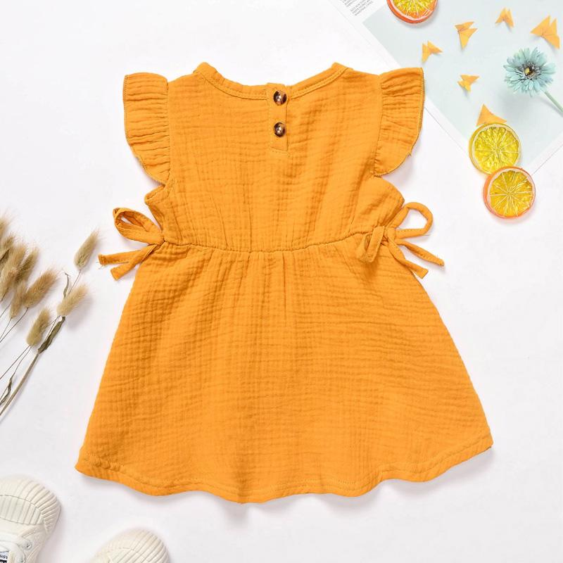 Solid Ruffle Dress for Baby Girl Wholesale children's clothing