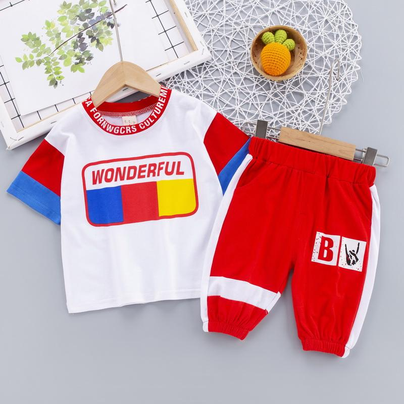 2-piece Color-block T-shirt & Pants for Children Boy - PrettyKid