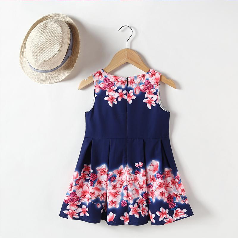 Summer Girls Flower Print Pleated Dress