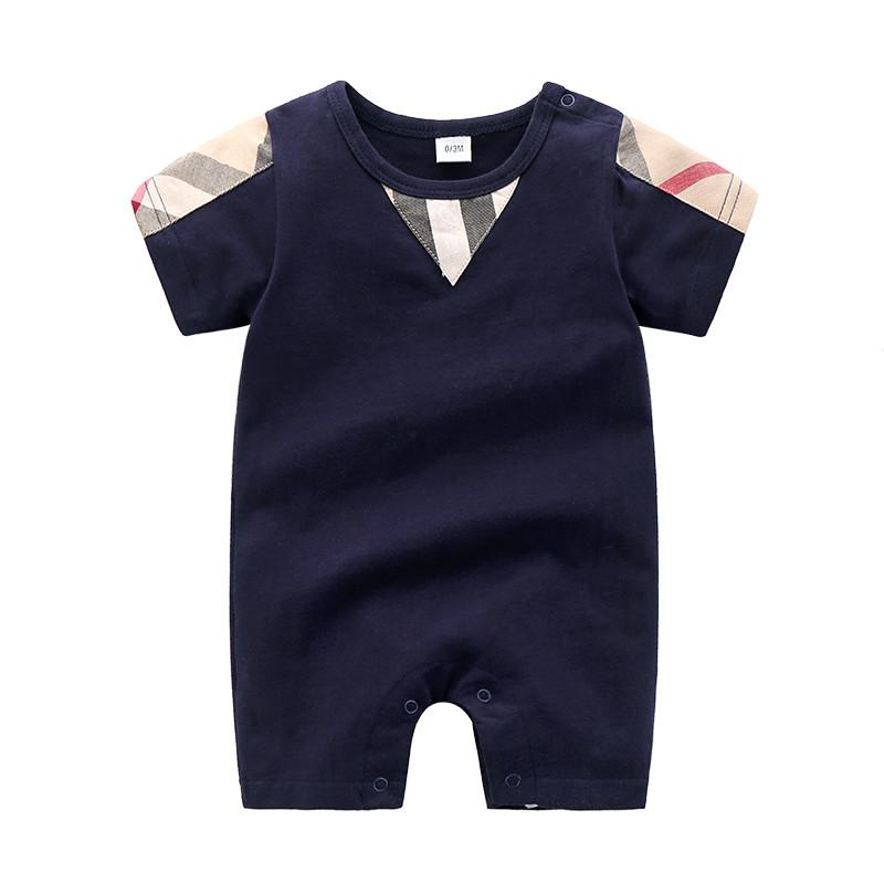 Soft High-quality Classic Plaid Solid Short-sleeve Bodysuit Children's clothing wholesale