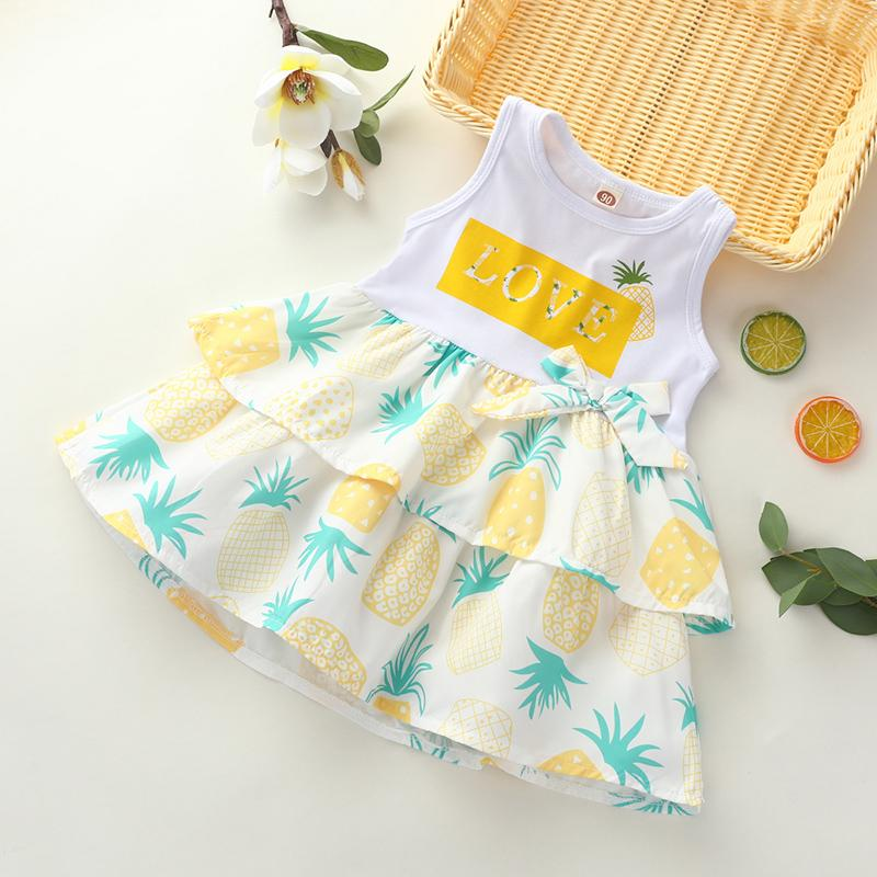 Fashion Pineapple Print Dress Wholesale children's clothing