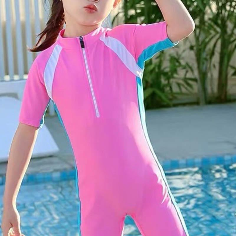 Kid Girl Contrast Colored Jumpsuit Swimsuits