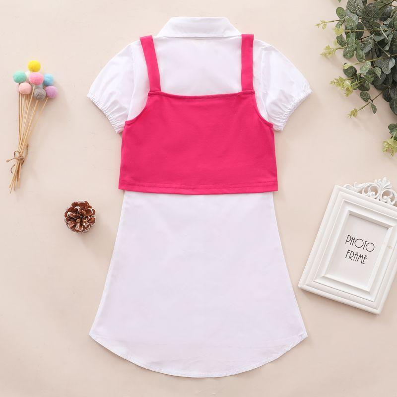 Toddler Girl White Puff Sleeve Shirt Dress & Letter Knit Suspenders Wholesale Children's Clothing