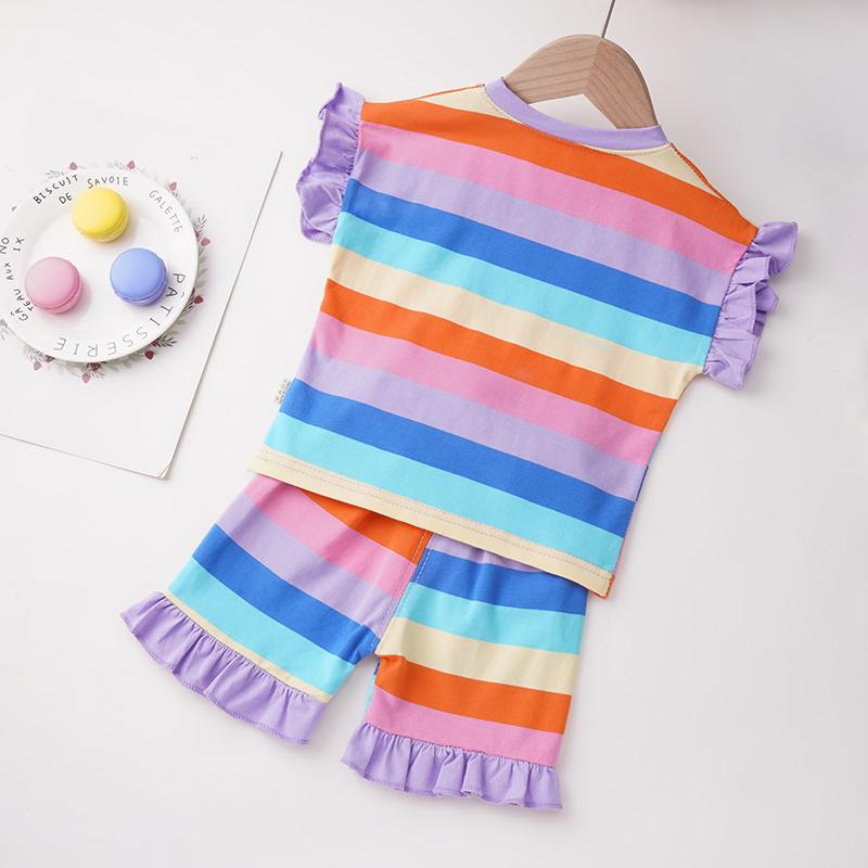 Toddler Girl 2pcs Stripes Pattern Summer Suit T-Shirt & Shorts Wholesale Children's Clothing