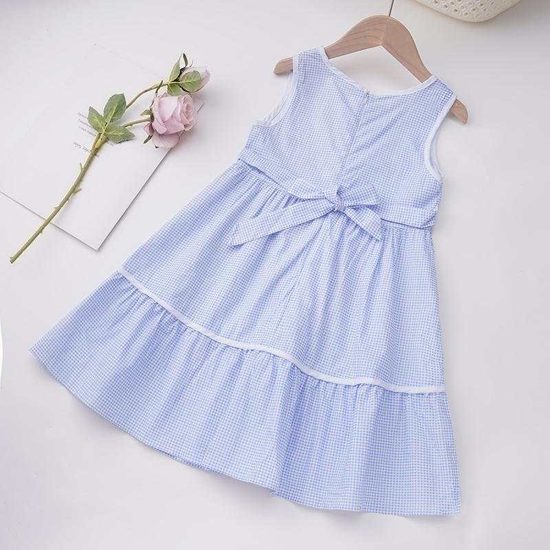 Toddler Girl Plaid Pattern Summer Dress Wholesale Children's Clothing