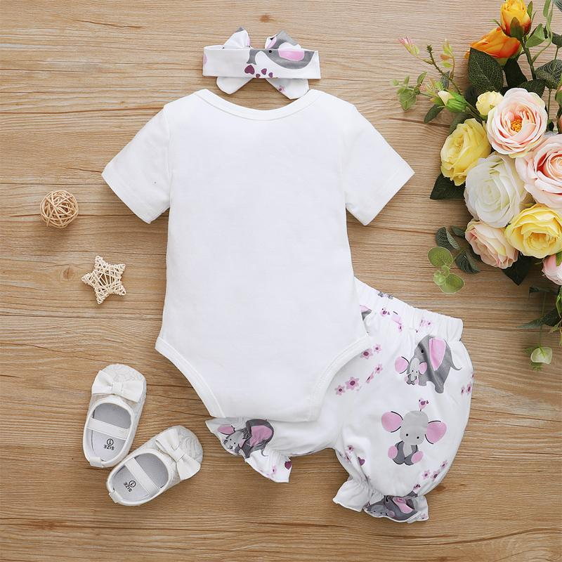 3-piece Romper & Headband & Shorts for Baby Girl Wholesale Children's Clothing