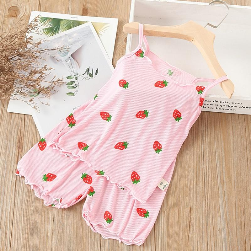 Toddler Girl Strawberry Pattern Summer Cami & Shorts Wholesale Children's Clothing