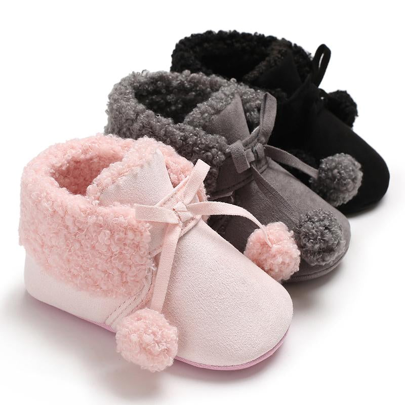 Cute Mother And Daughter Shirts Velcro Fleece-lined Baby Shoes for Baby Girl