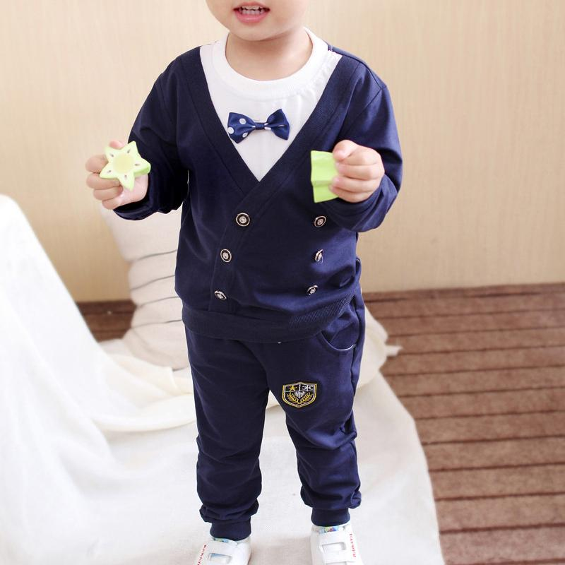 2-piece Bowknot Sweatshirt & Pants for Toddler Boy Wholesale children's clothing