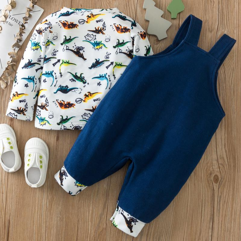 2-piece Dinosaur Pattern Long Sleeve T-shirt & Bib Pants for Baby Wholesale children's clothing