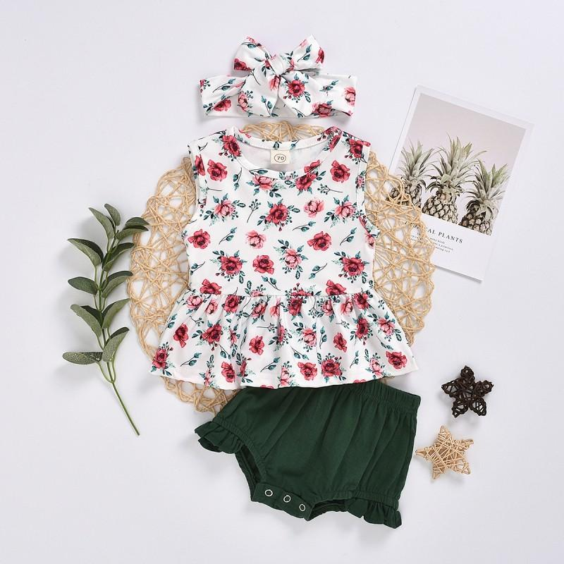 3-piece Floral Printed Dress & Shorts & Headband for Baby Girl Wholesale children's clothing