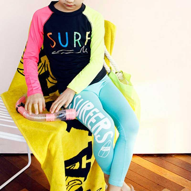Kid Girl Letter Contrast Colored Sleeves Swimsuits