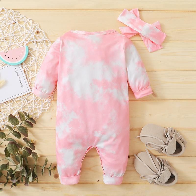 2-piece Tie dye Jumpsuit & Headband for Baby Girl Wholesale children's clothing
