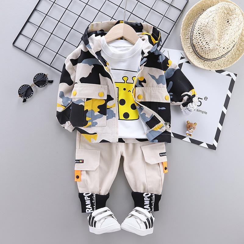 3-piece Camouflage Coat & Sweatshirt & Pants for Toddler Boy Wholesale children's clothing